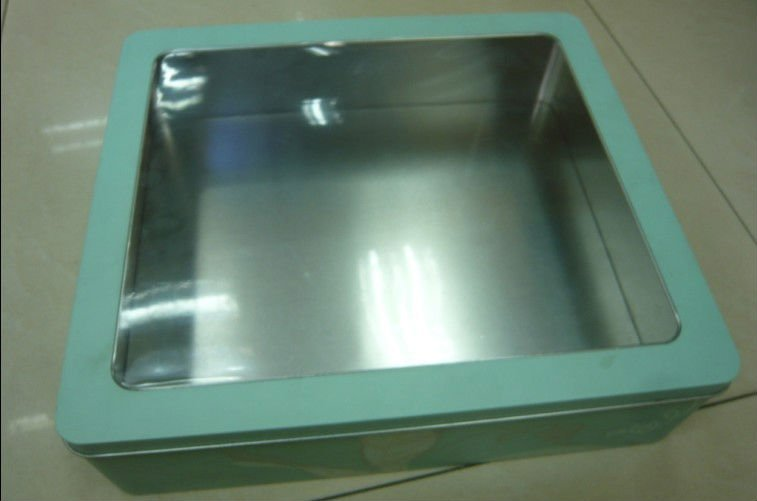 Big Square Toy Can with Clear PET Window, Square Tin Box, Square Tin