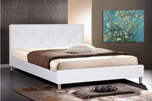 PU Bed with Crystal Button Tufting