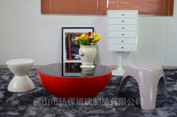 Modern high quality fiberglass center table design with glass top