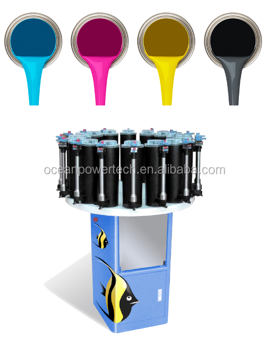 Paint mixing machine / color tinting equipment / colorant dispenser with rotary platen