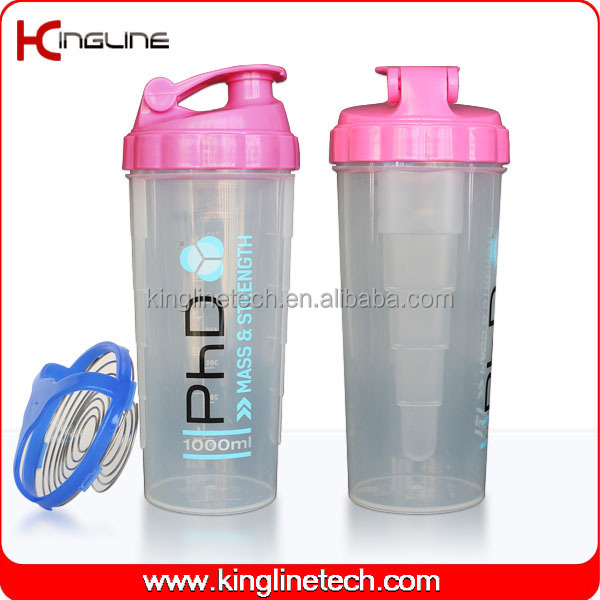 BPA free, high quality 700ml plastic protein shaker bottle target with stainless mixer ball(KL-7007)