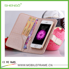 Universal Luxury Smart Phone PU Leather Flip Wallet Phone Case Pink for 3.5-5.5'' Mobile Phone