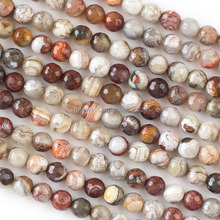 Wholesale Loose Gemstone Natural Laguna Lace Agate Round Faceted Beads For Jewelry Making