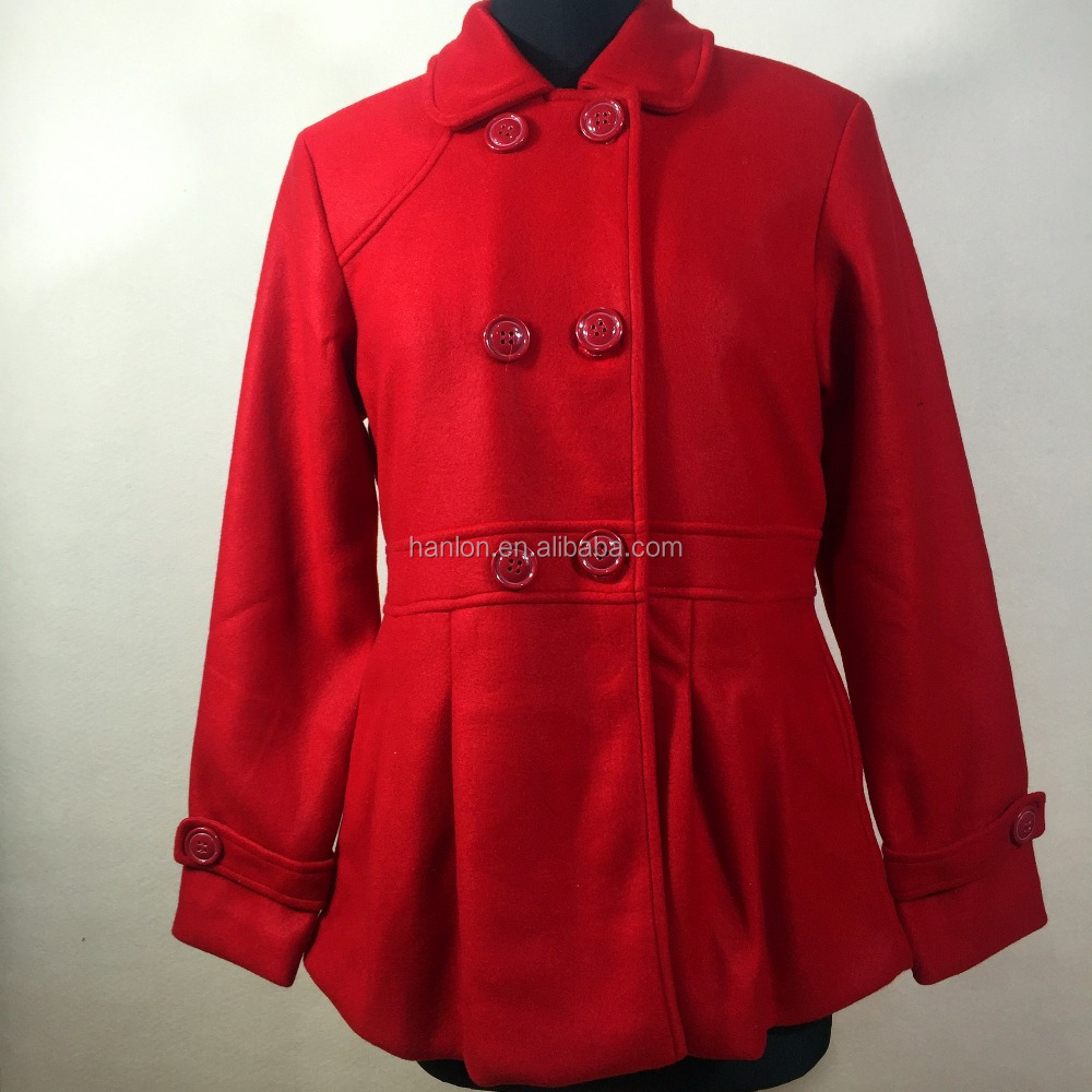 Red color button closure small lapel baby-doll dress melton coat for women