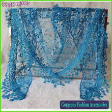 Summer Ladies Lace Tassel Sheer Metallic Women Girls Burnt Out Floral Print Triangle Bandage Lace Scarf
