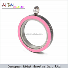 stainless steel Memory Glass Floating Round Locket Open Thread Locket Pendant With Clear Glass locket