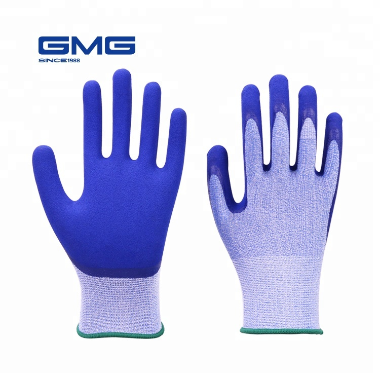 Trending Products GMG 13G Polyester Spandex Shell Sandy Latex Plam Coated Industrial Rubber Protective <strong>Gloves</strong>
