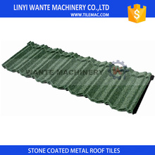 Dark green 1340x420mm classic stone coated steel roof tiles