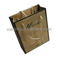 Gold hot foil stamping kraft paper shopping bag with cotton handle