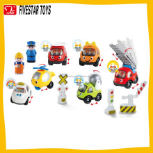 Promotional Sliding cartoon construction truck plastic mini car slide truck toy role playing police
