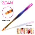 2017 Private Label Customized Rainbow Wood Handle Ombre brush for Flower nail Brush Nylon Hair