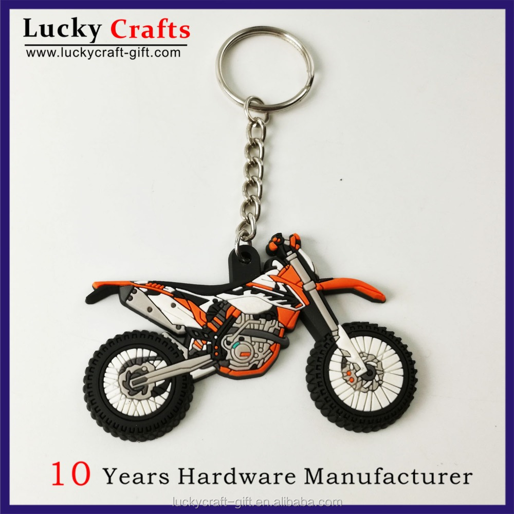 promotional custom car logo soft pvc rubber keychains with Keyring and chains link