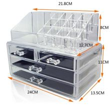Cosmetic Organiser 4 Drawers Clear Acrylic Jewellery Box Makeup Storage Case