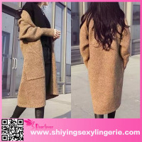 Cheap Wholesale Khaki Maternity Knit Longline Cardigan Angora