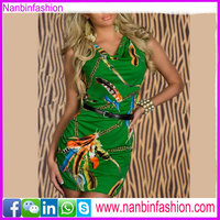 Green color summer wear fashion woman dress bodycon dress