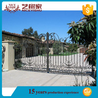 Low price black powder painted steel used aluminium gate/China galvanized gate for sale/decorative garden main gate designs
