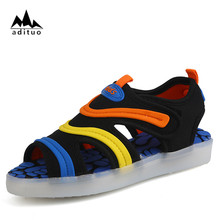 2017 summer beach kids LED light shoes closed toe sandals for boys Luminous Shoes