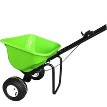 Walk behind plastic hopper salt spreader for seed and fertilizer