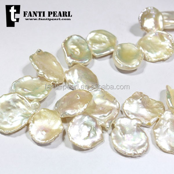 17-18mm big size wholesale white color loose freshwater high quality keshi pearl for necklace