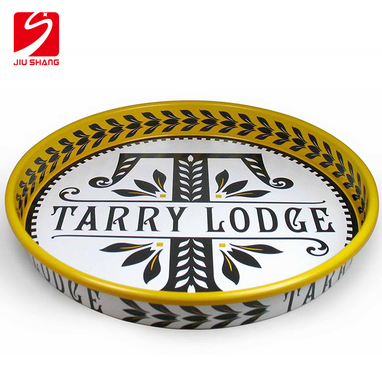 Personalized large round stainless steel serving tray
