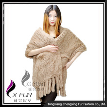 CX-B-01D 2016 Wholesale Stock Knitted Pocket Scarf Rabbit Fur Lady Fur Shawl