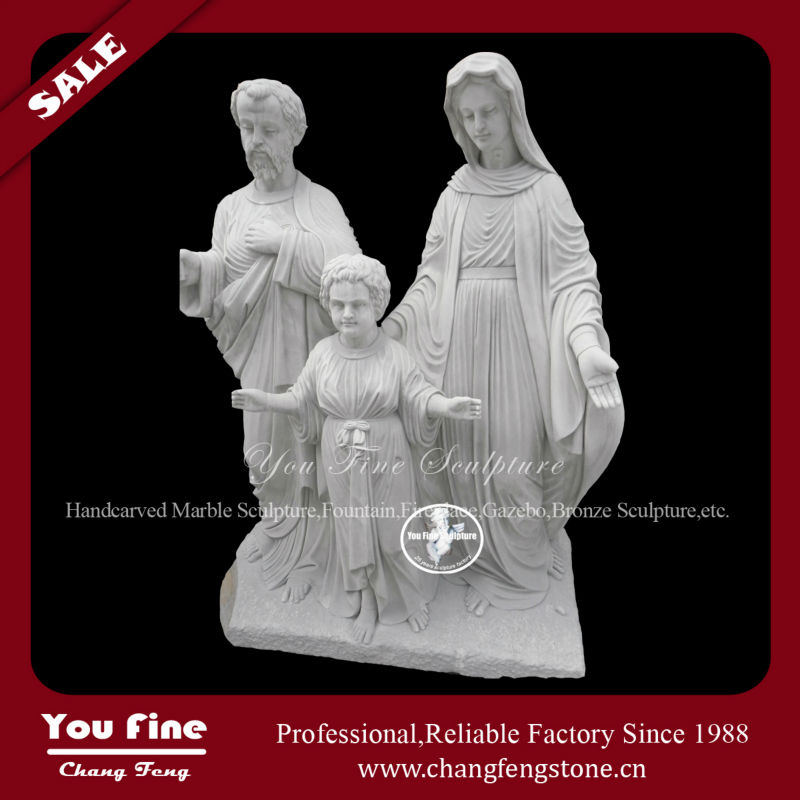 Carved family stone sculpture