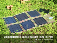 foldable solar charger, 15W USB-port 5V solar phone charger for mobile phone/Ipad/power bank,etc