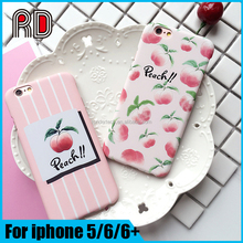 Lovely summer fruit peach pattern couple case cover for iphone 6/6plus/SE/5, lover case hard pc cover for iphone 6s