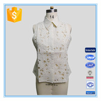 Elegant Linen Sexy Floral Embroidery and Hollow Out Camisole Top For Woman