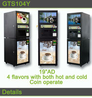 Professional Self-Service 4 flaovrs Hot and Cold Coffee Vending Machine With Coin Operated