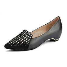 Wholesale 2016 High class genuine leather shoes ladies office comfortable graceful black height increasing dress shoes