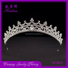 High end comfortable design ornamental rhinestone bridal half round pageant crowns