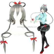 Anime Vocaloid /Luotianyi 100cm long braid Grey Synthetic hair cosplay wig