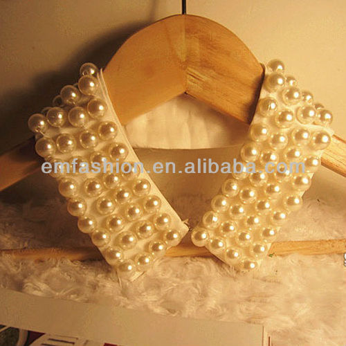 Fashion Retro Women White/Black Pearl Handmade Fake Collar Necklace