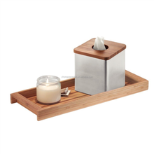 High quality tabletop decorative cosmetics tissue box organizer wooden serving tray