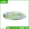 Flower print oval melamine plastic food tray with handle on sales