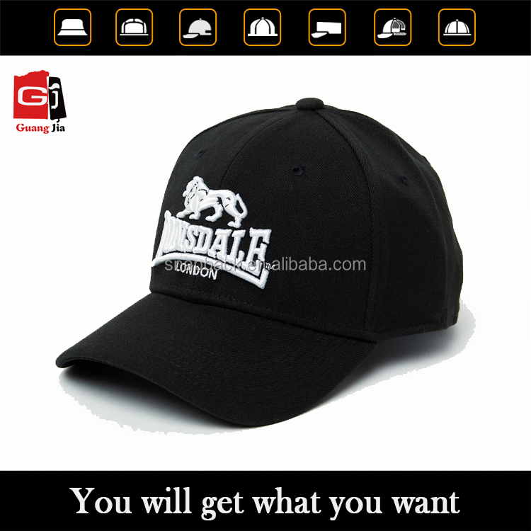 2016 Promotional Design Own Logo Fitted Hat 3D Lion Embroidery Black Baseball Cap Wholesale