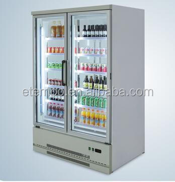 Commercial refrigerator 500L double glass door beverage showcase