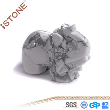 Istone Howlite Elephant Figurine Stone Crafts For Feng Shui Reiki Healing & Home Decotation