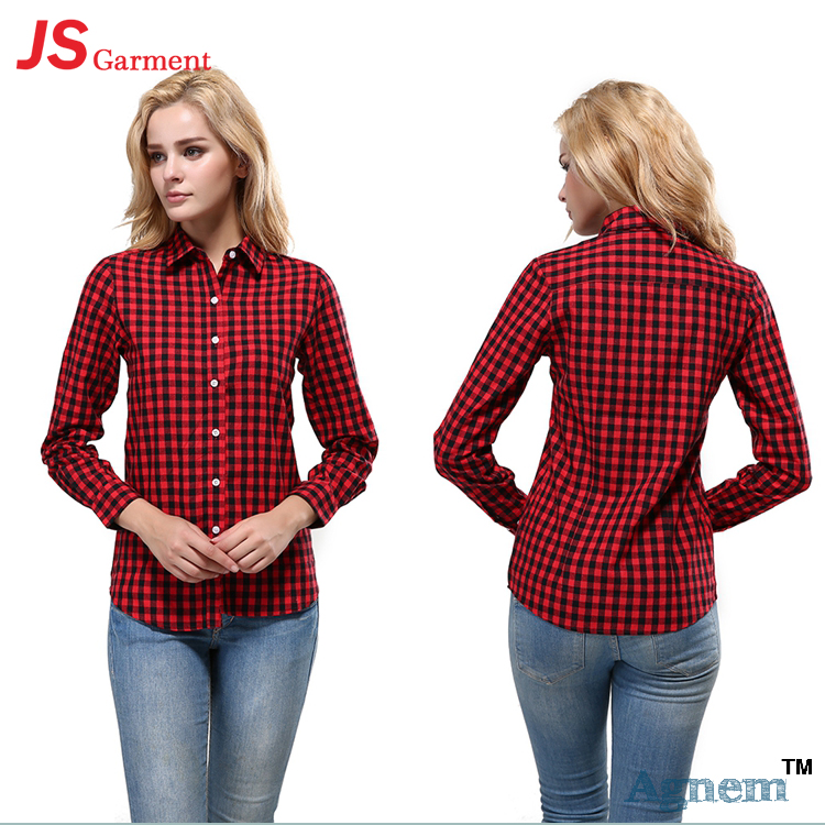 JS 25 Wholesale Custom Long Sleeve Fashion Newest Casual Plaid Shirts For Women Blouse