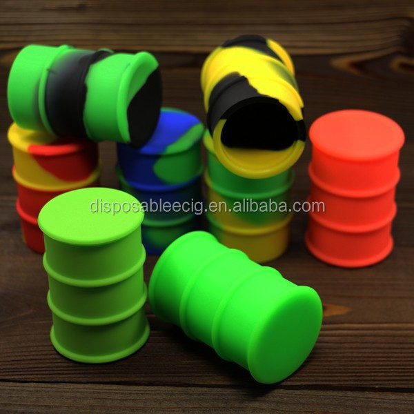 MOQ 50pcs 26ml oil barrel silicone container/jars any color available nonstick silicone jar dab wax weed oil can for ecig