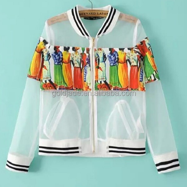 Organza summer thin jacket baseball jacket,high quality transparent custom made baseball jacket