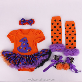 Baby Girls orange Halloween outfit new born short dress and Headband and shoes Set NB-12M with leg warmers 4pcs set