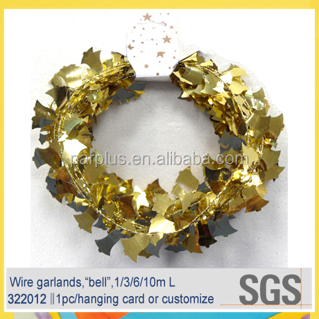 Gold Metallic Bell Wire Christmas Tinsel Garlands