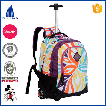 Printed roller book bag luggage backpack with noiseless wheels wheeled school backpack