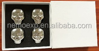 4pcs, Gift Box, Skull Shaped, Stainless Steel Whiskey Stones