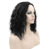 Short Curly Natural Black Wig for Women Synthetic Water Wave Wig