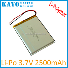 kpl607095 lithium polymer battery 3.7v with 2500mah long cycle life for led lighter