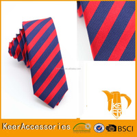 best quality red and blue stripe silk neckties custom embroidered tie