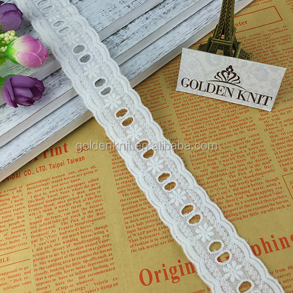 Golden Knit 3cm Width White Color Embroidered Cotton Eyelet Garments Lace Trimmings 93188#